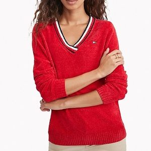 Tommy Hilfiger V-NECK CHENILLE RED SWEATER NWT